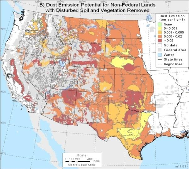 Figure 3: Wind erosion potential for non-federal lands in the western US with disturbed soil and vegetation removal, showing the dust emission hot spots in western Oklahoma and northern Texas.