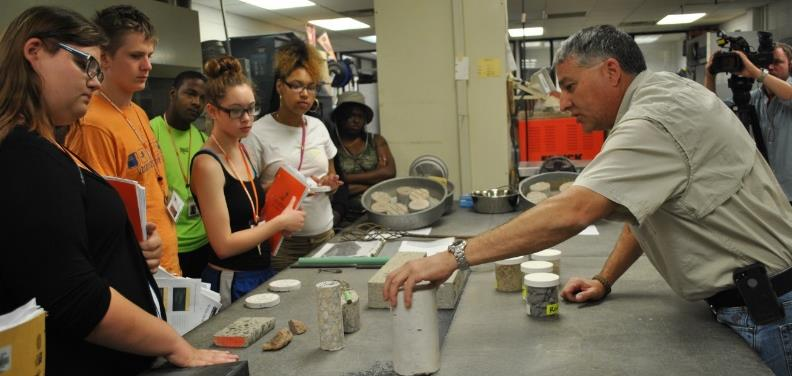 Figure 2 In the Materials Lab at the Oklahoma Department of Transportation, learning about materials used in asphalt and concrete