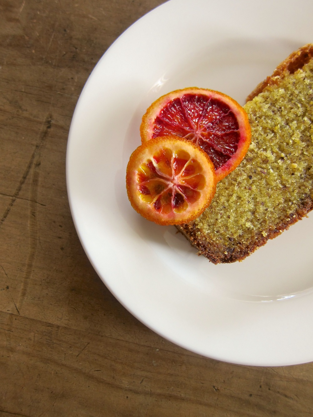PISTACHIO OLIVE OIL CAKE WITH CANDIED BLOOD ORANGE ( Adapted from this ...
