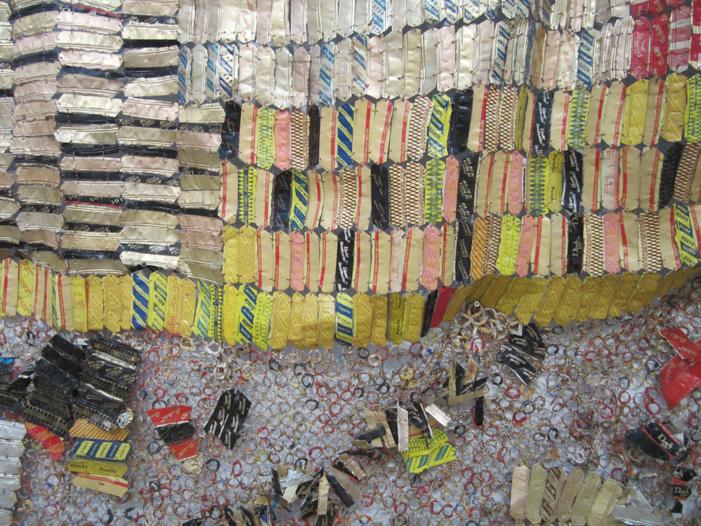 El Anatsui    Detail of  his work exhibited at the Brooklyn Museum