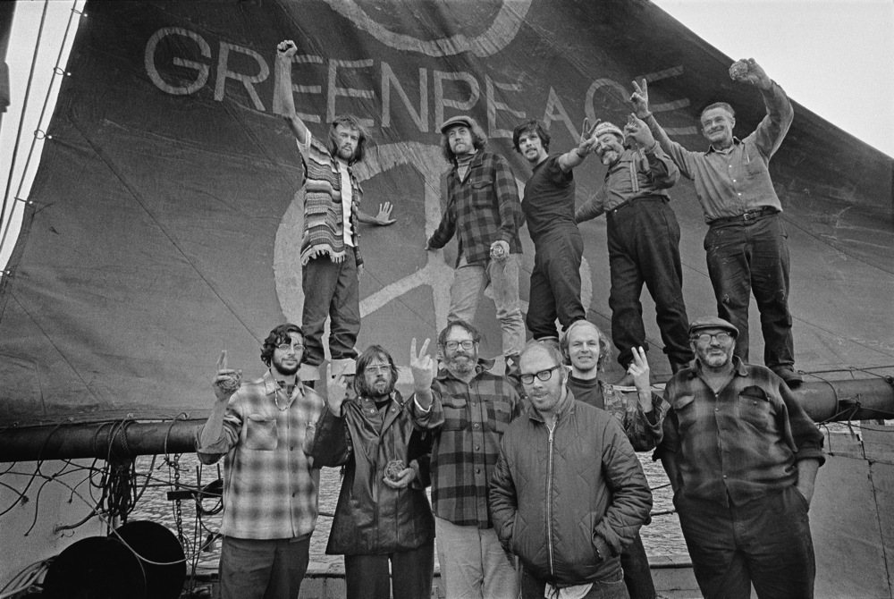 Bill Darnell (bottom, 2nd from right) and fellow Greenpeace co-founders