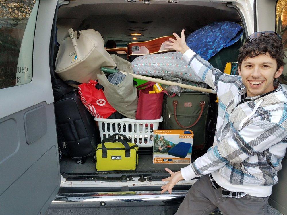Garrett with loaded van