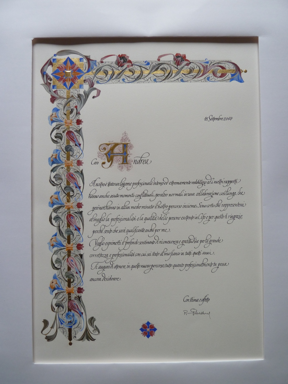 Certificate on paper . Illumination from Tiziana Gironi