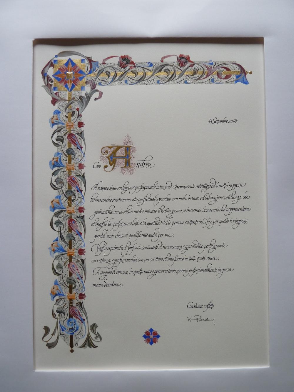 Certificate on paper . Illumination from Tiziana Gironi