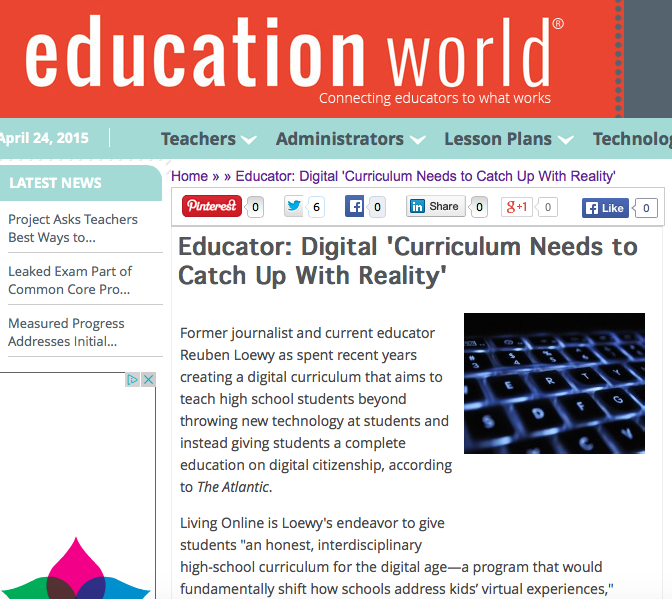 Education World, April 24th 2015