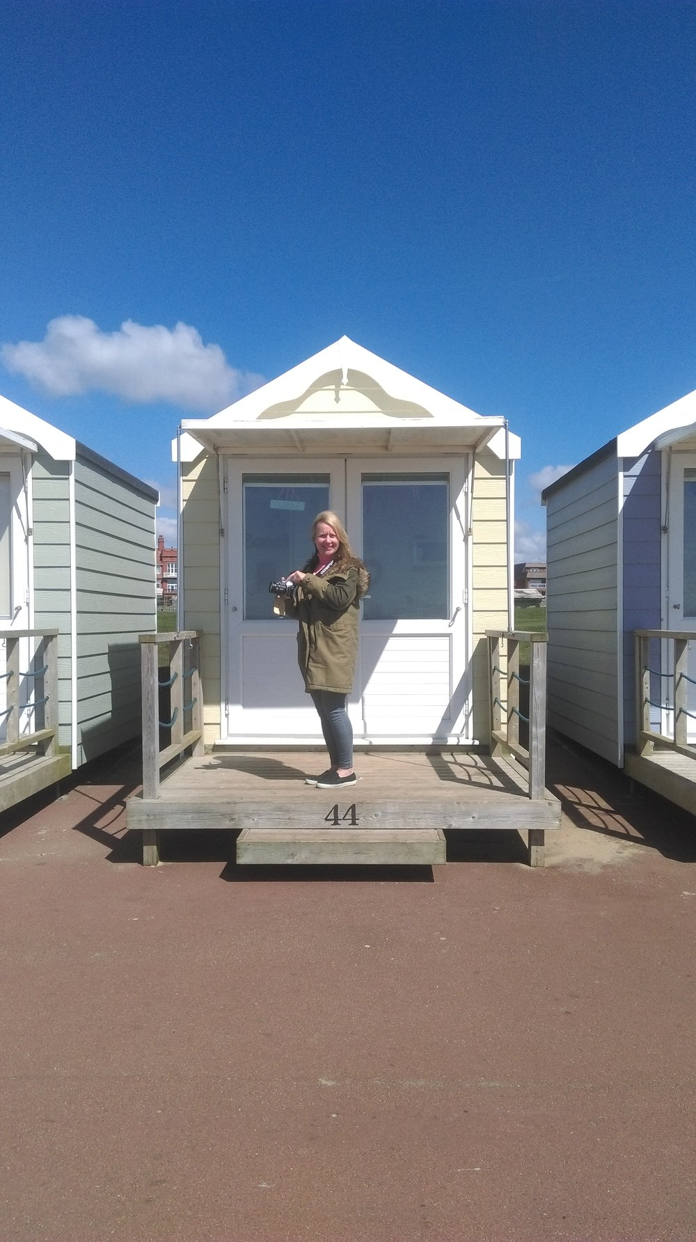 Katya in front of our beach hut