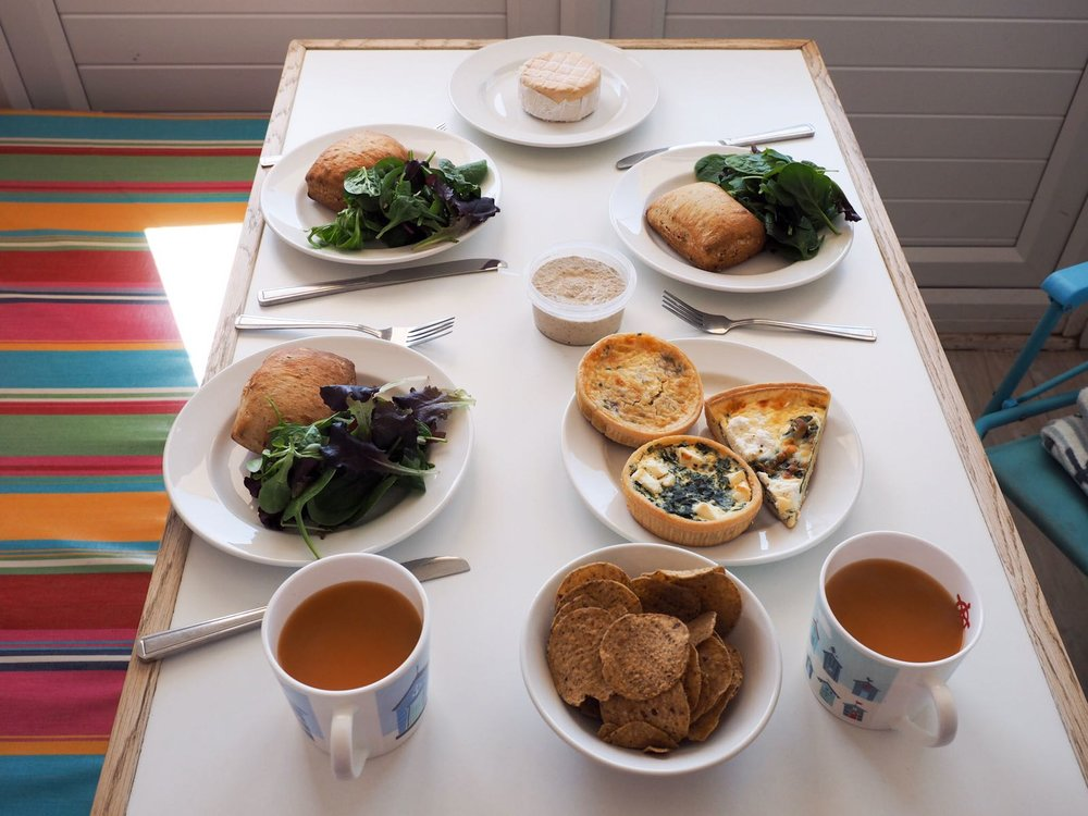 Our delicious lunch in the beach hut. Photo courtesy of  Katya Willems .