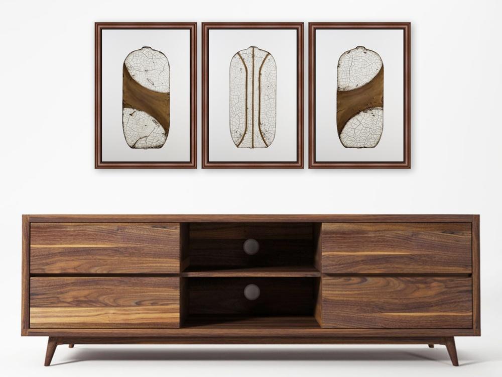 Raku Pottery Series V Triptych - Terri Deskins