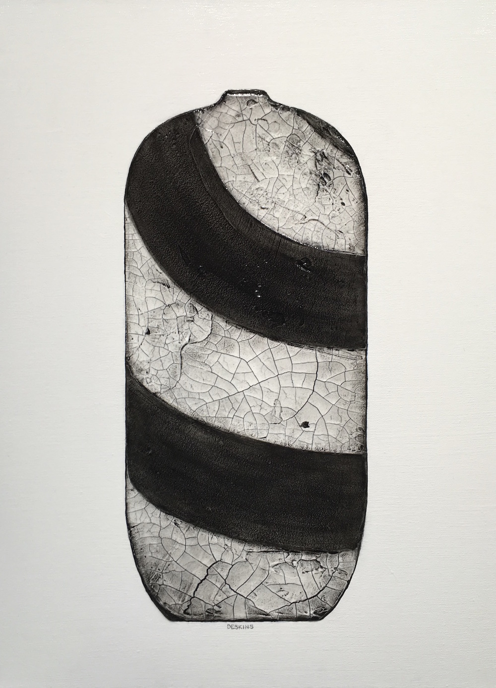 Painting of raku pottery painted in gray and black hanging on a wall