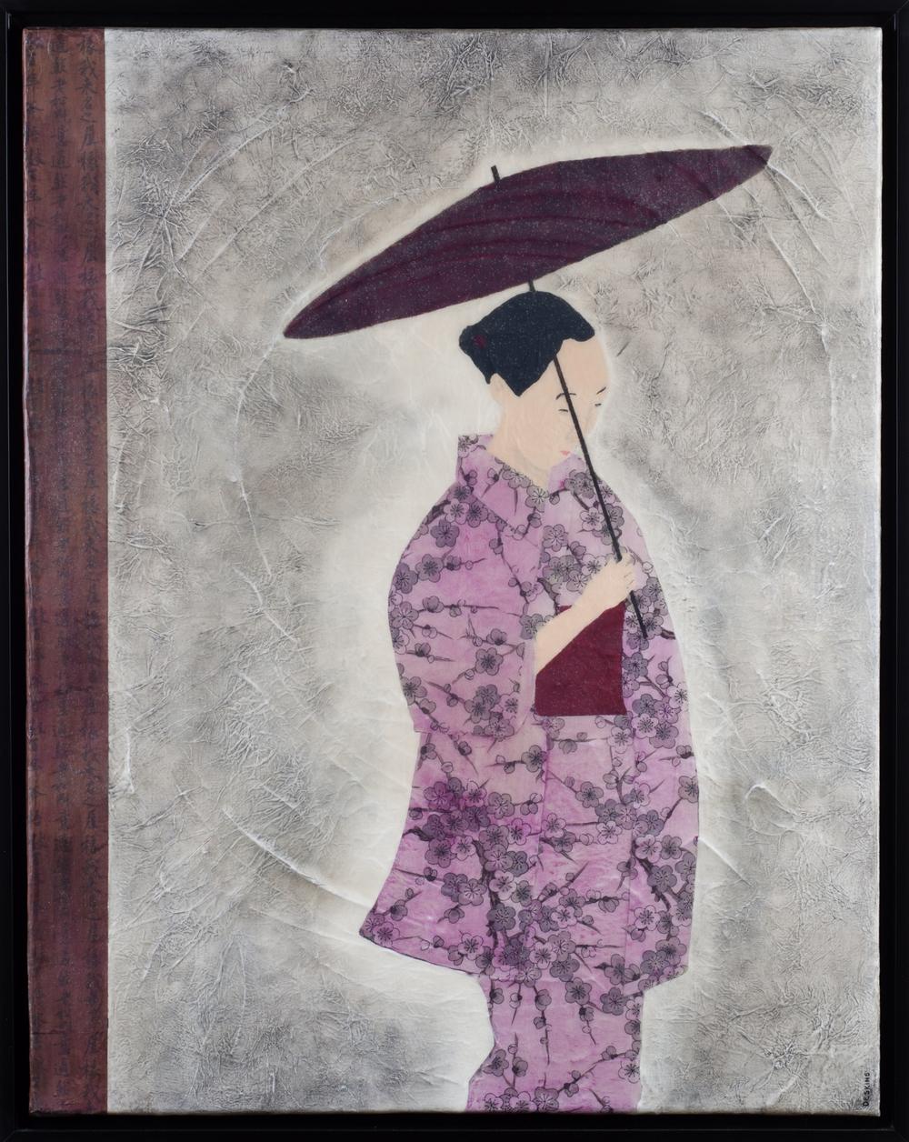 Solitude Painting framed in a black floating frame by Terri Deskins