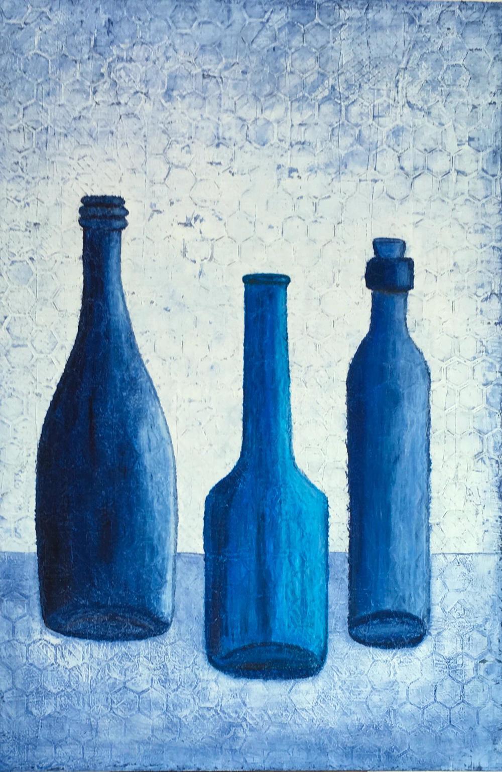 Bottle Blues original still life painting on canvas by Terri Deskins