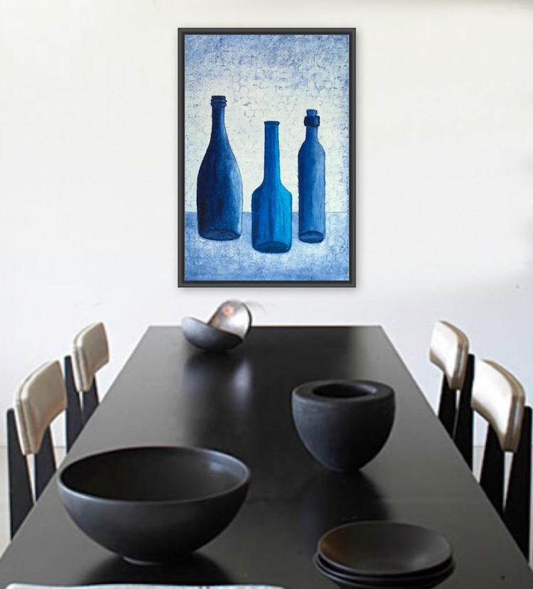 Bottle Blues still life painting by Terri Deskins