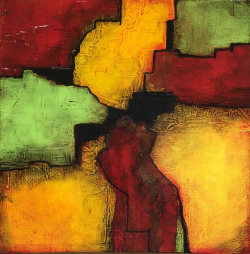 Yellow and red original abstract painting by Terri Deskins