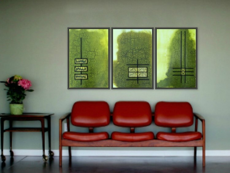mid century modern abstract art - raku green gold - triptych paintings on wall  by terri deskins artist