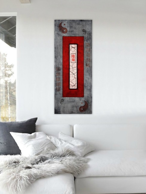 Red Asian Abstract Painting