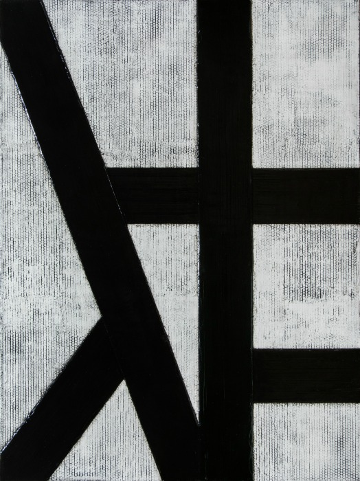 30 x 40 original abstract in black & white inspired by Franz Kline