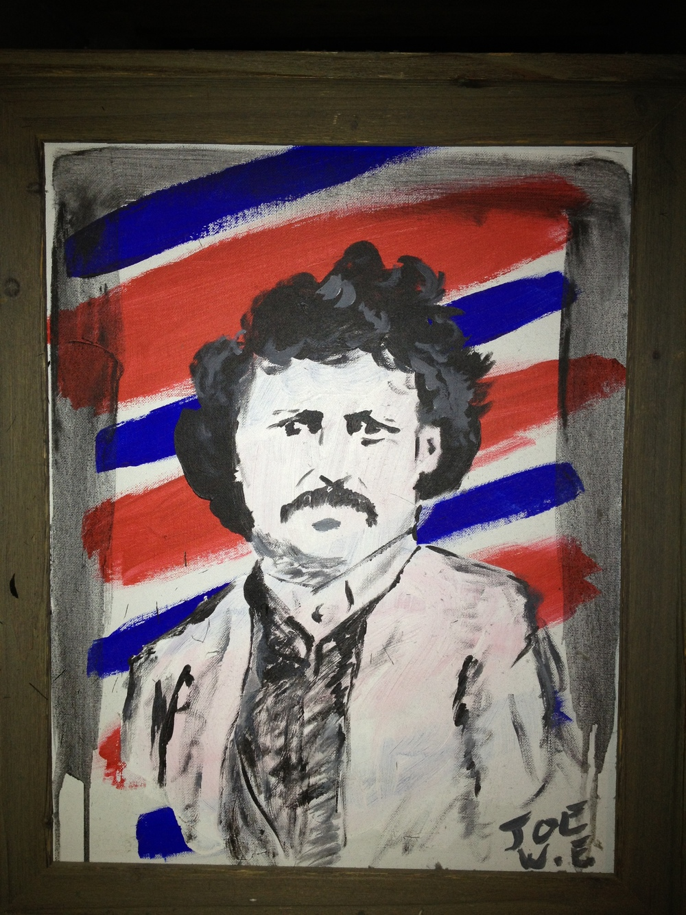 "I once directed a play called ""Booster McCrane, P.M."" by David S. Craig, about a small town lawyer who accidentally manages to get himself elected Prime Minister of Canada. In one scene, Booster's best friend and adviser, Chief Joe White Eagle is sitting in the P.M.'s office painting a portrait of Louis Riel. On the morning of dress rehearsal day I realized that we didn't actually have the portrait yet. So I grabbed some paint and did this after lunch."
