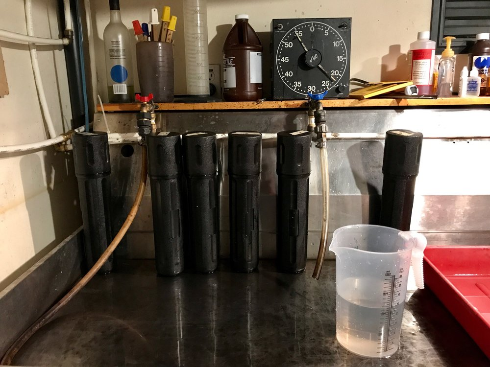 Six 8x10 negatives in tubes being developed in the wet darkroom