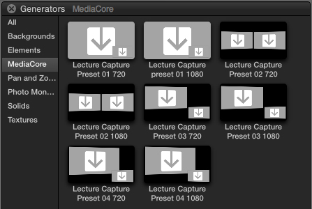 The MediaCore Lecture Capture presets shown in Final Cut Pro's 'Generators' tab