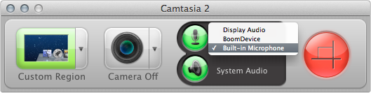 Screen capture tools such as Screenflow and Camtasia (pictured) give you fine control over your computer's recording configuration and inputs.