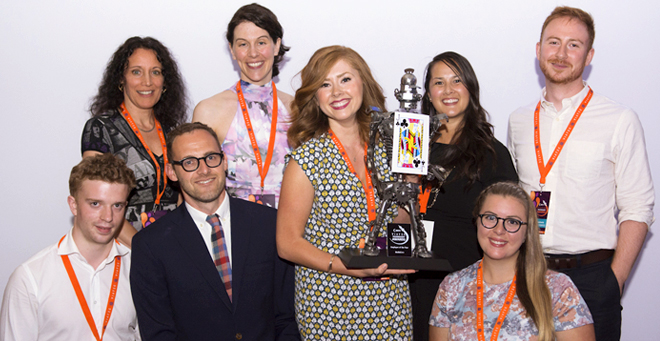 The MediaCore Team accepts VIATeC's Employer of the Year Award, June 26th