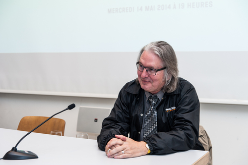 Bruce Sterling at HEAD – Genève / Photo by Emily Bonnet.