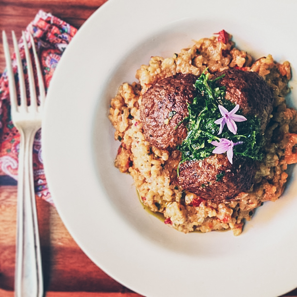 GARDEIN MEATBALLS OVER SUNDRIED TOMATO RISOTTO