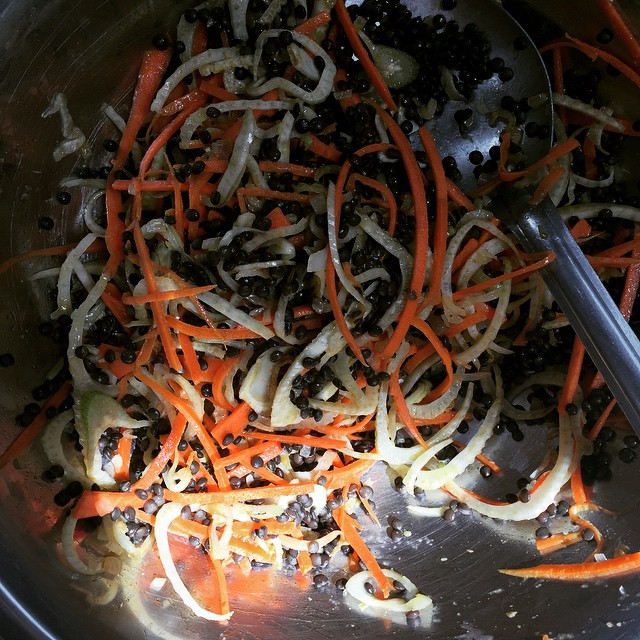 Lentil, carrot & fennel salad.