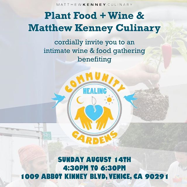 Join us Sunday evening as @communityhealinggardens announces our Venice improvement collaboration project with Dharma Kitchen & David Hertz (@sky_source) ... Helping bring together our community🍃💚