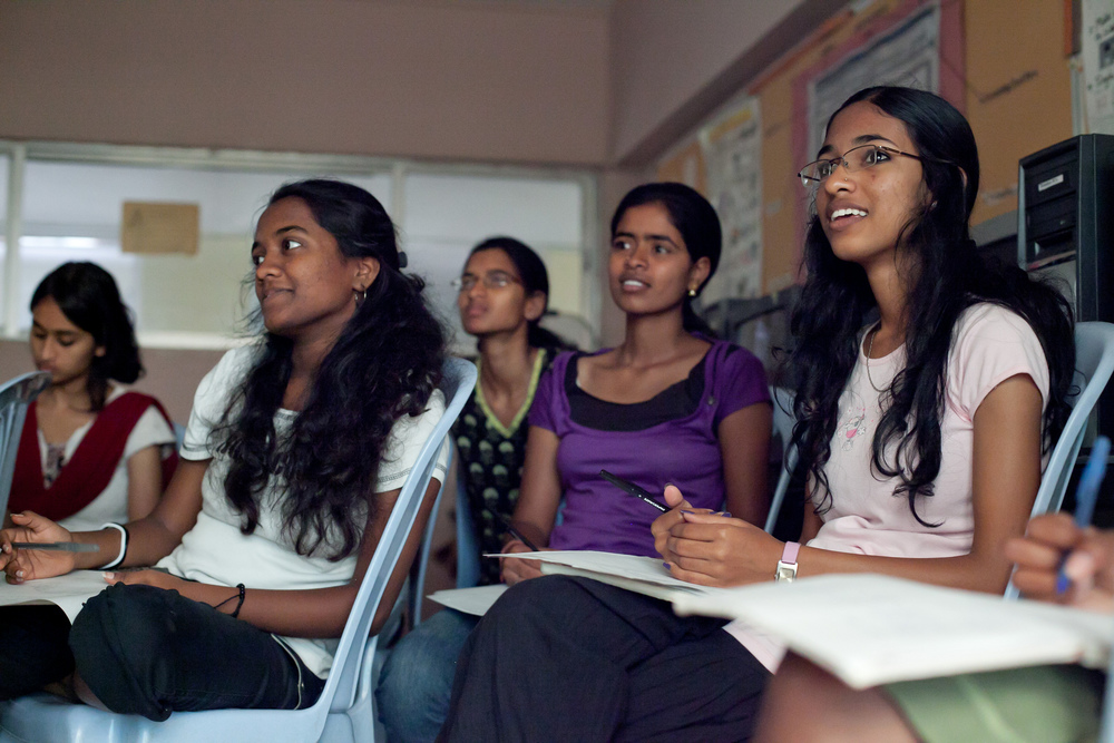 Maheswari in class in 2012, the year she graduated from high school. Photo by Kate Lord.