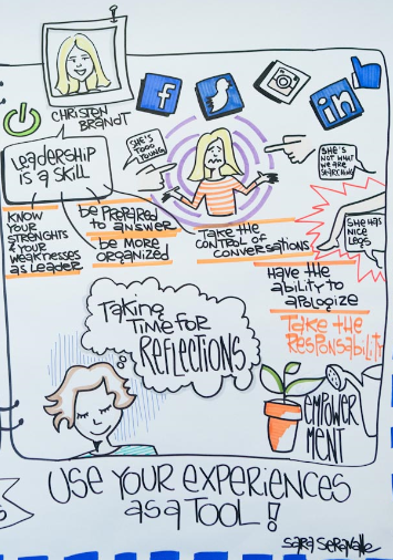 An illustration of one of my talks on gender and age biases in leadership