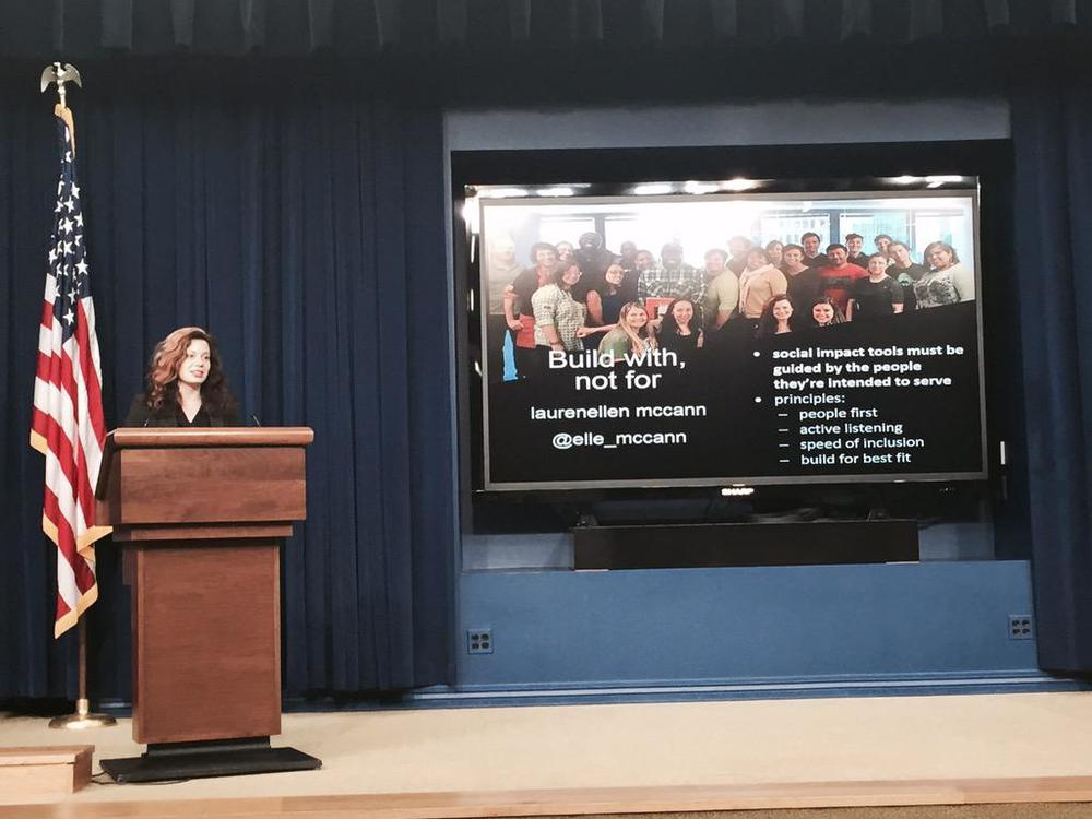 Presenting at the White House's first Tech Meetup in April 2015 on what it means to build with, not for communities in the creation of tools for governance & resilience. Photo by Demond Drummer.