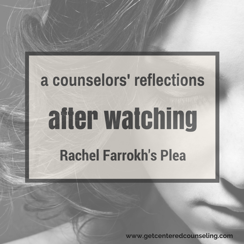image: transparent background on sad woman in black and white with title of the blog on top: A Counselor's Reflections After Watching Rachel Farrokh's Plea