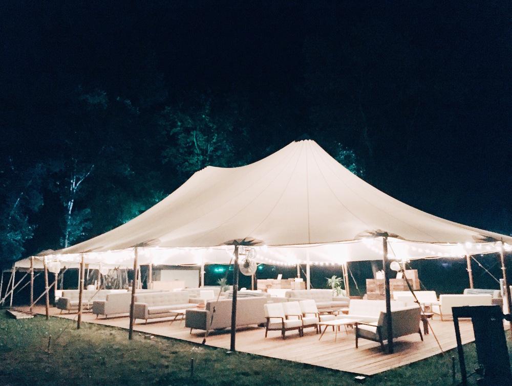 Artist Hang Tent at Night
