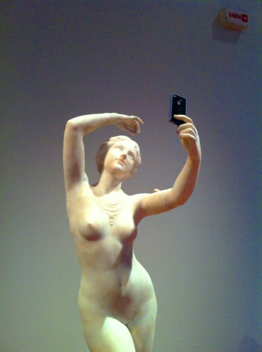 "stem-cell: rosalarian: pourquoi-nutmeg: nortonism: The thing about this is that sculptures like these in art history were for the male gaze. Photoshop a phone to it and suddenly she's seen as vain and conceited. That's why I'm 100% for selfie culture because apparently men can gawk at women but when we realize how beautiful we are we're suddenly full of ourselves… YES. Girls don't let anyone tell you loving yourself is vanity. ""You painted a naked woman because you enjoyed looking at her, put a mirror in her hand and you called the painting ""Vanity,"" thus morally condemning the woman whose nakedness you had depicted for you own pleasure."" ― John Berger, Ways of Seeing This reminded me of a comment made by a (male) student about my HOT PICS project. He questioned my decision to allow my friends to dress however they want, saying that it could conflict with my message because the way some of them chose to dress was too typically ""hot"", and therefore defeated the point of the project. To me, allowing my friends to dress how they chose for the photos is about about them deciding how they want to be perceived in the photographs. If I told them to dress in a certain way for each photo shoot, I'd be taking away their ability to represent themselves how they choose, much like many photo shoots of women go. Sorry (not sorry) we want to represent ourselves however we want in a photograph and you don't like that. Also my friends are just hot and they can't help it. I still have a hard time wrapping my head around selfies. Like I get it and it's fun, but I'm not often interested in participating. I don't necessarily think it's a bad think. But I don't necessarily think it's a good thing either–mostly because of how they are used, not what they are in themselves."