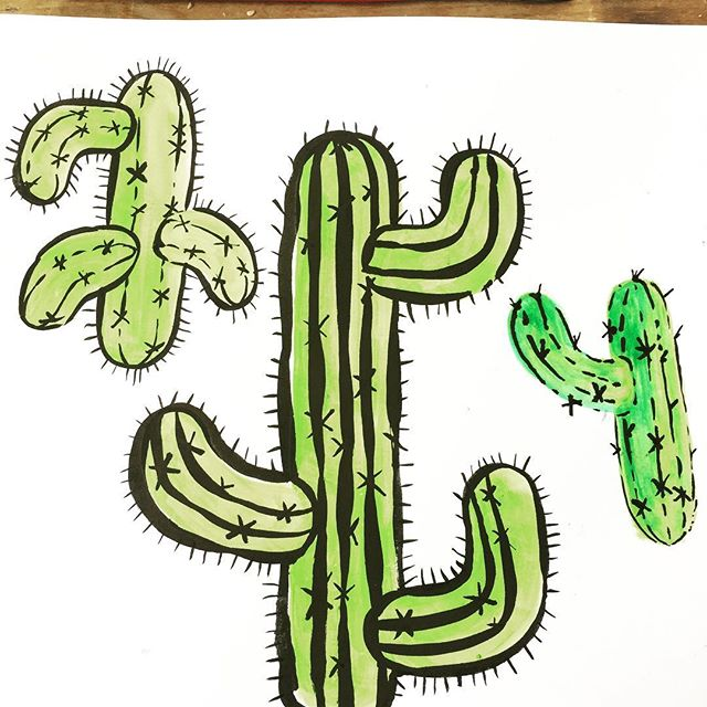 Titled: Cactus or pickles with hairy arms. . . .  #maker#prickly#dailyart#ink#guache#illustration#cactus#cactuslover#nature