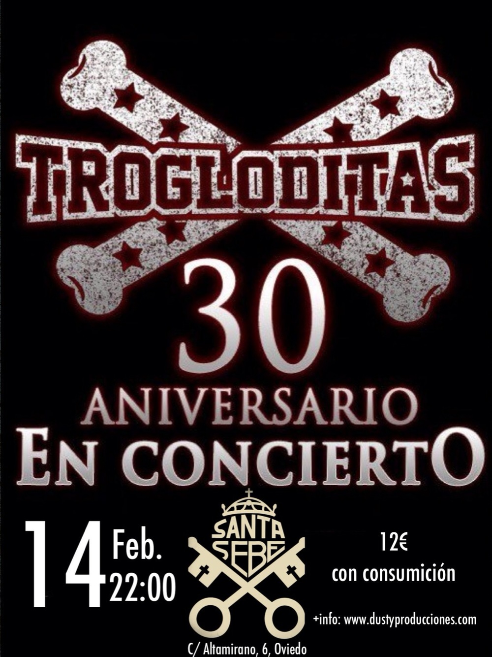 Los Trogloditas en concierto, el 14 de febrero de 2014, en Oviedo, Sala La Santa Sebe.