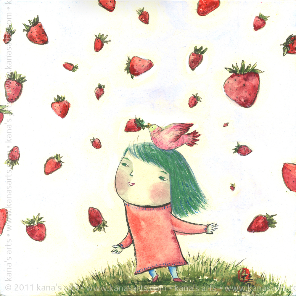 strawberry bird on my head