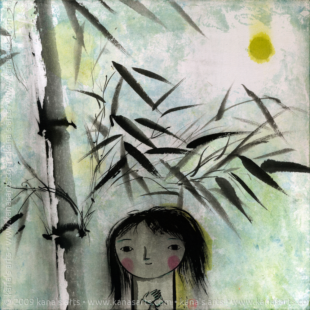 girl, bamboo, and full moon