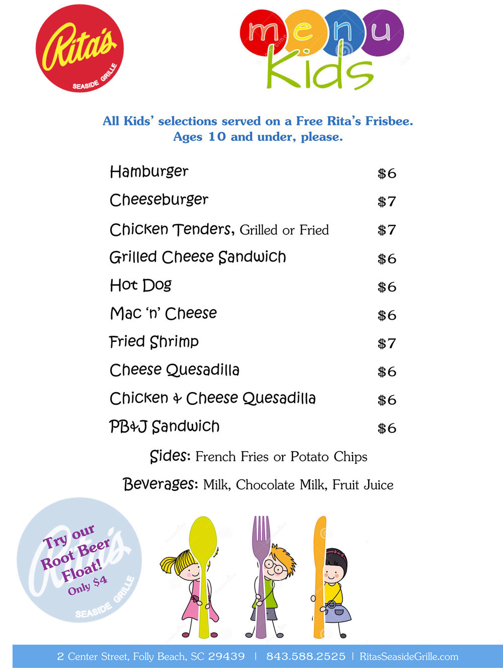 Rita's Seaside Grille Kids Menu
