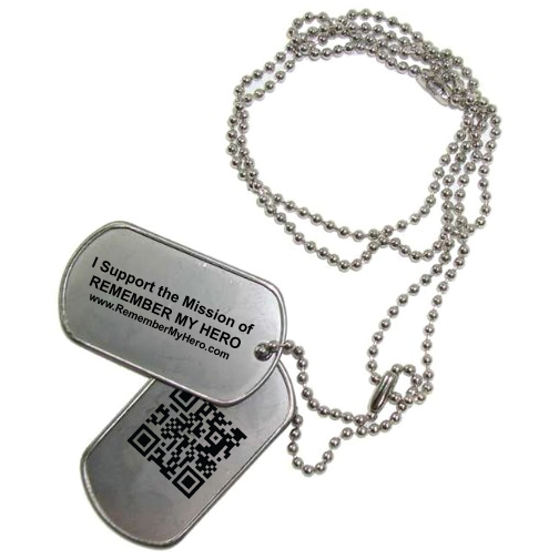 Sets include two dog tags with laser engraved statement of mission, silencers (not seen here) and qr code for the website.