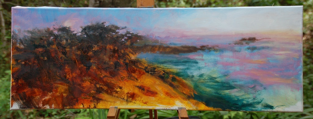 Point Lobos - Moon at Dusk,  13 x 36, oil on linen, work in progress.    The Sun and the Moon trading places...  On a recent visit to Point Lobos, I was painting a slightly different vista when I realized the moon would be rising over the Cypress trees as the sun was setting where I began...I changed my point of view to honor the changing light - the transition from the sun to the moon