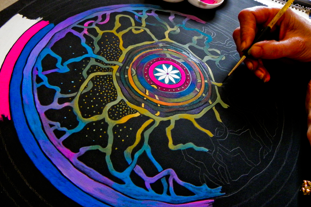 Mandala Painting Workshop - Saturday 11th August - Sunday 12th August, 10.00-4.00, £160.00 including art materialsTiny group, book now 01379 897393Mandalas are symbolic circles and other symmetrical shapes which occur in the sacred art of many traditions worldwide. Using simple mindfulness meditation we will design and paint our own mandalas.Familiarity with art materials and some form of mindfulness is helpful.