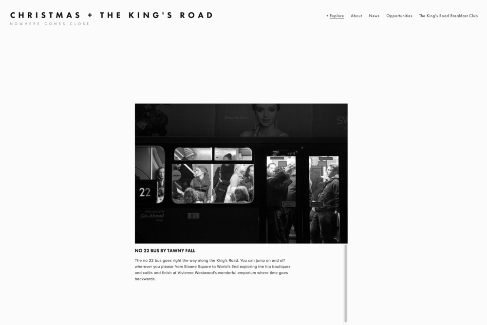 We have created sites for the King's Road businesses and associated organisations to connect and develop overarching campaigns for the busy seasonal period.