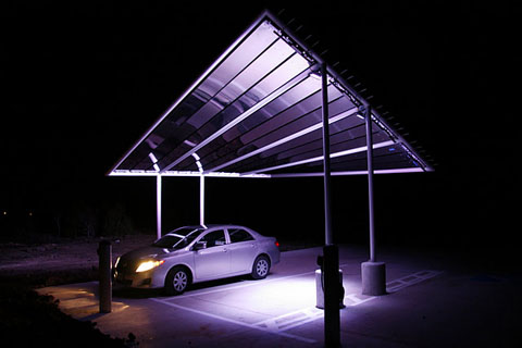 Pvilion Solar Sail canopy, near Pflugerville, Texas, also uses lights to enhance the attractiveness of the electric car charging canopy.