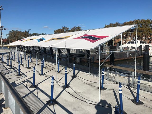 We hope you got a chance to see our latest NYC project at Governors Island! This 60'x12' solar fabric canopy for the Yankee Pier ferry queue utilizes a battery backup system to provide shading, cellular charging, AC outlets, and LED lighting for park visitors. Be sure to check it out next season! @pvilion @governorsisland #sustainabledesign #solarfabric #shade #canopies #ferry