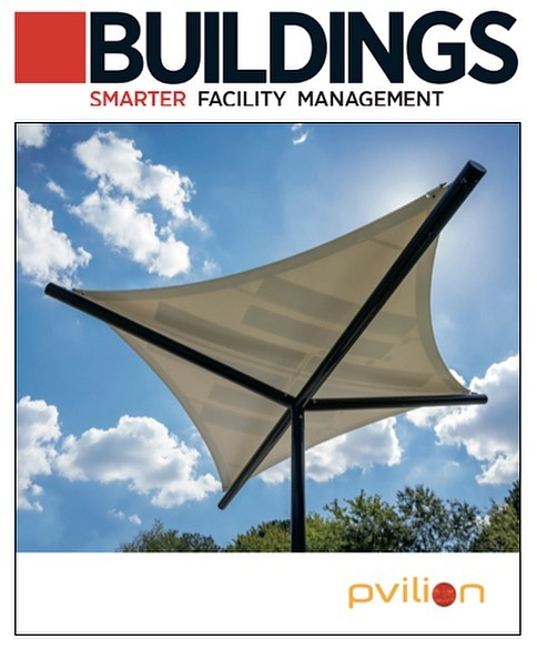 """Check out Pvilion CEO Colin Touhey's latest interview with BUILDINGS Magazine! """"Solar Fabric Canopies: Energy-Generating Tenant Amenities"""" Link in bio #sustainabledesign #greenbuilding @buildingsmagazine"""