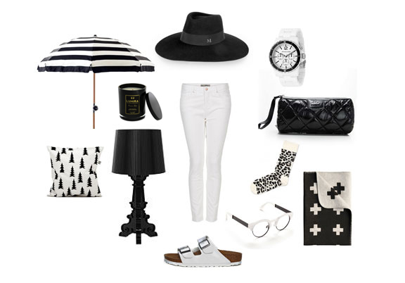 Clockwise from top left. Basil Bangs Chaplin stripe outdoor umbrella; Atelier Lumira Persian Rose candle; Maison Michel felt hat; Micheal Kors watch; Chanel purse; Happy Socks; Pia Wallen cross blanket; Sunday Somewhere opticals; Birkenstocks; Replica Ferruccio Laviani Bourgie lamp;  Fine Little Day cushion; Centre: AG white jeans.