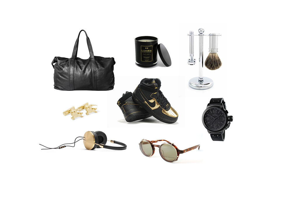 Centre: Gold & Black Nikes, Clockwise from left: Sunday Somewhere Leather Overnight Bag, Atelier Lumira Cuban Tobacco Candle, Baxters of Califormia Safety Razor Set, TW Steel Black Chronograph 50 watch, Barton Perreira eyewear, Frends Headphones, Burberry Gold Horse Cufflinks.