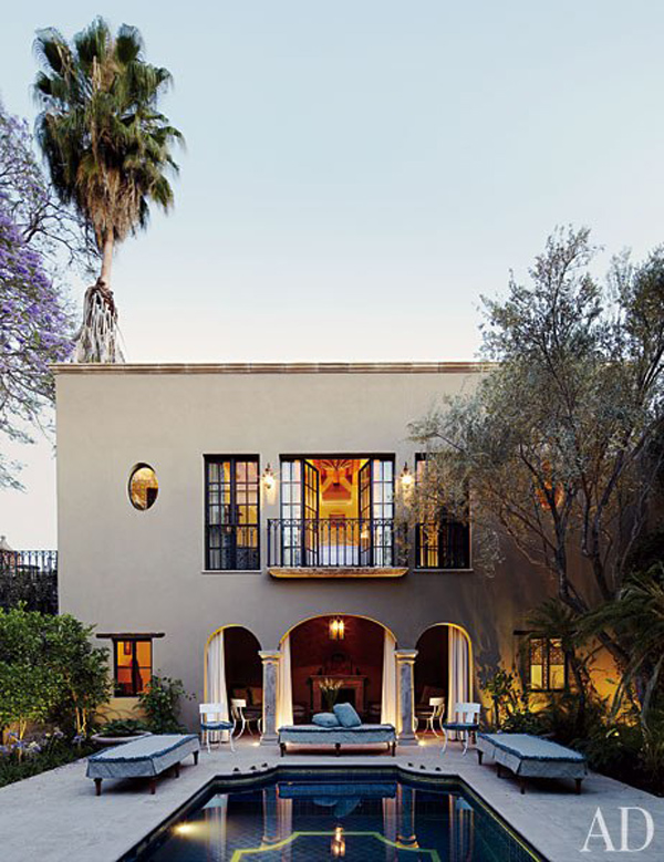 San Francisco–based interior designers Andrew Fisher and Jeffry Weisman, of the firm  Fisher Weisman , at Casa Acanto, their retreat in San Miguel de Allende, Mexico. Article Source:  Architectural Digest